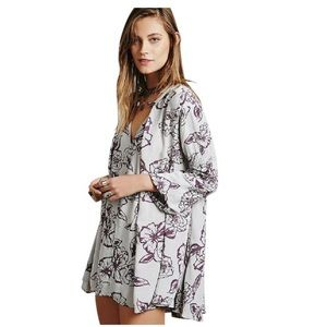 Free People Light Grey and Purple Floral Tunic